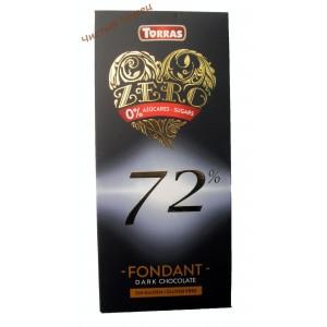 Torras ZERO Dark chocolate 72% cacao,Шоколад черный без сахара (100 г) Испания