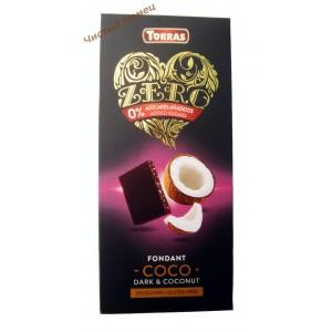 Torras ZERO NEGRA  ,Шоколад черный без сахара с кокосом (125 г) Испания